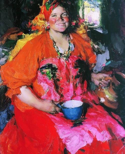 Girl with a jug by Abram Arkhipov
