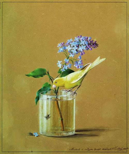 The branch of lilacs and canary Fedor Tolstoy