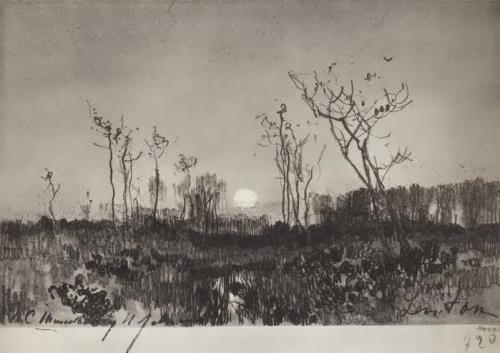 Landscape with the moon Isaac Levitan