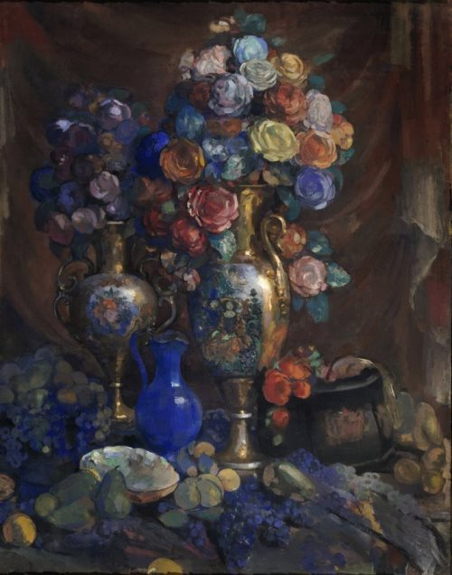 Vases flowers and fruits Nikolai Sapunov