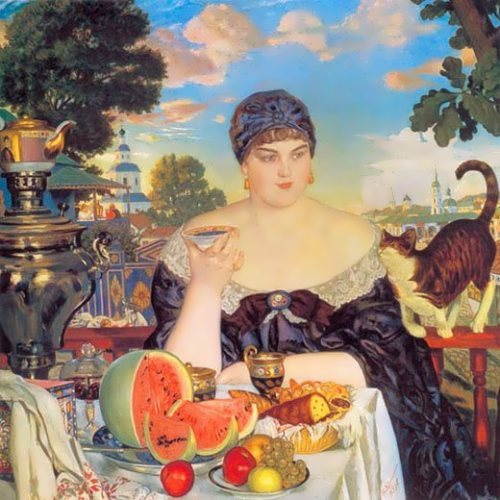 Merchant's Wife at Tea Boris Kustodiev