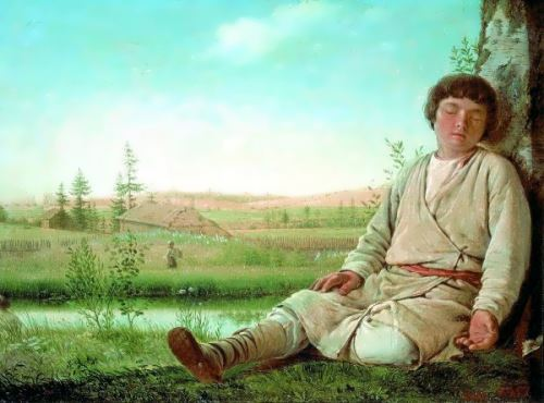 Sleeping Shepherd-Boy Alexei Venetsianov