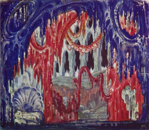 Stage design for the Wagner opera Tannhauser Mstislav Dobuzhinsky