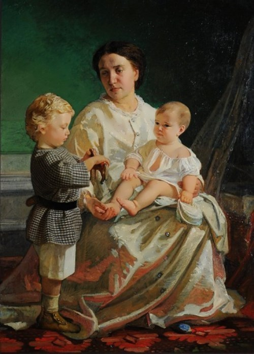 Portrait of A.P. Ghe with children