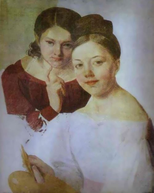 Portrait of Alexandra and Felitsata Venetsianova The artist's daughters