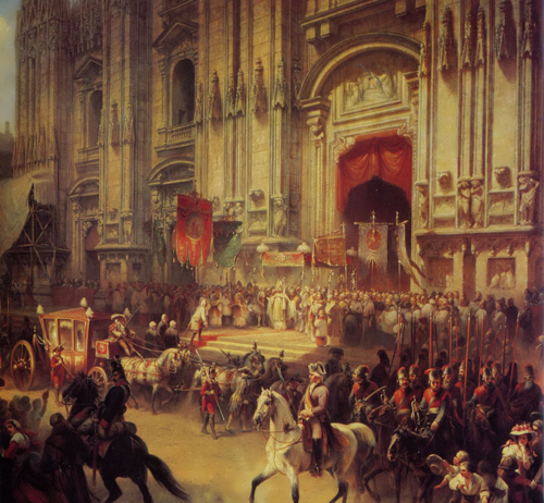 Solemn meeting of Suvorov in Milan in April 1799. Artist A. Sharleman