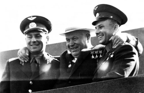 Cosmonauts German Titov and Yuri Gagarin with N.S. Khrushchev in 1961