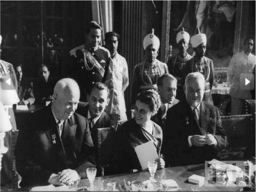 Khrushchev and Indira Gandhi