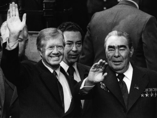 US President Jimmy Carter and Leonid Brezhnev