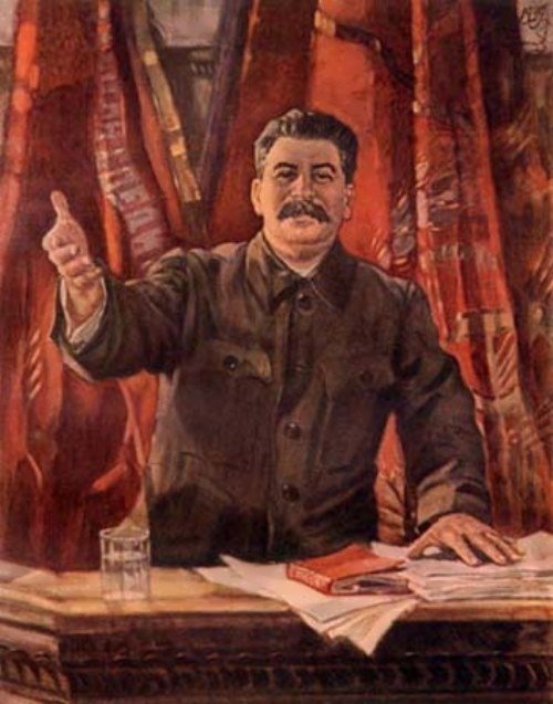 A. Gerasimov. Stalin makes a report at the XVIII Congress of the CPSU, 1939