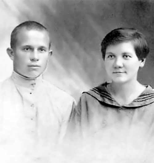Young Nikita Khrushchev with his first wife Euphrasinia Pisareva, who died in 1920