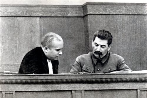 N.S. Khrushchev and I.V. Stalin in 1936