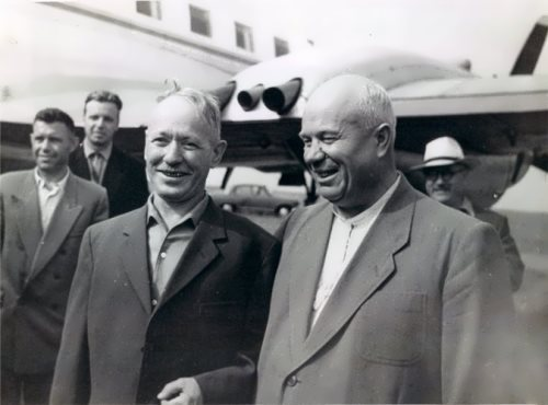 Writer Mikhail Sholokhov and N.S. Khrushchev in 1959