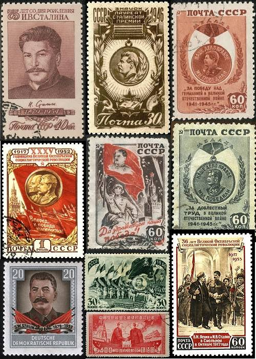 Stamps with J. Stalin