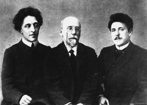 From left to right, Alexander Blok, Fyodor Sologub, G. Chulkov