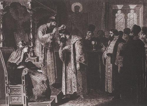 A. Kivshenko. Tsar Fyodor Ivanovich and Boris Godunov