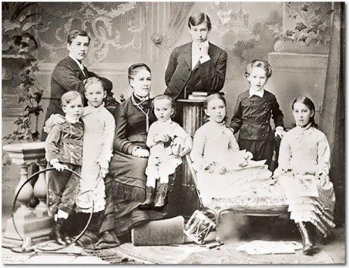 Alexeyev family Konstantin stands in the center