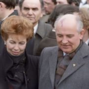 Raisa and Mikhail Gorbachev during a friendly visit to Yugoslavia