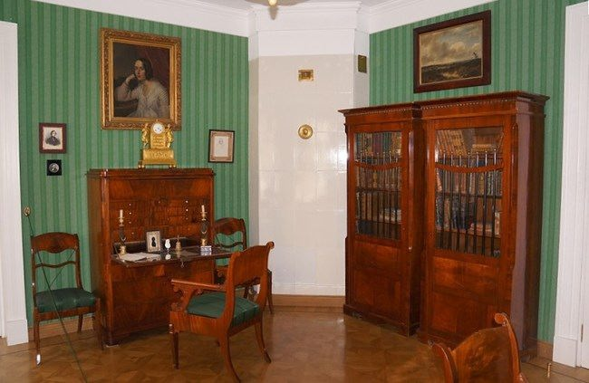 Herzen's study with a portrait of his wife