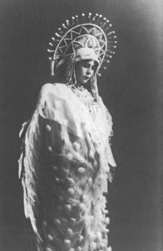E.A. Stepanova as the Swan-Bird. The Tale of Tsar Saltan. Bolshoi Theater, 1913