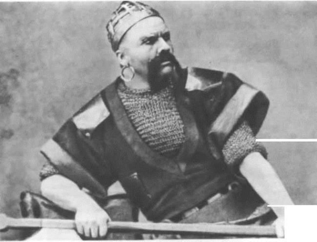 F.I. Shalyapin as the Varangian guest. Sadko, Russian private opera, 1897