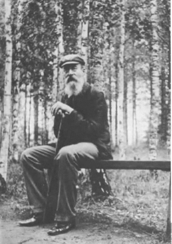 Famous Rimsky-Korsakov in a birch grove in Krapachukha, 1903