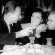 Mikhail Bulgakov and playwright Sergei Ermolinsky with his wife