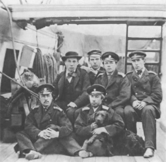 N.A. Rimsky-Korsakov (first right) in the group of midshipmen on the deck of the Almaz clipper. New York