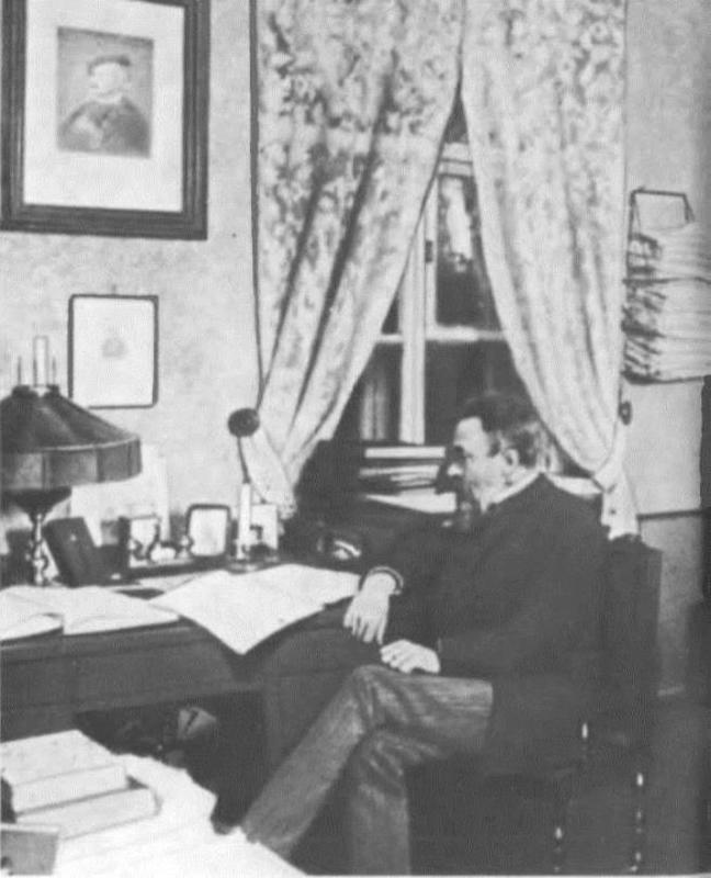 Rimsky-Korsakov in his office in St. Petersburg