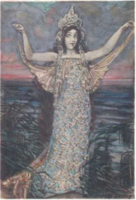 The sea princess. Watercolor by M. A. Vrubel, 1904
